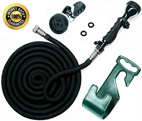 Water Hose - Expandable Garden Hose - Hose Holder - High Pressure Washer Spray Nozzle with 9 Settings - Best As Seen on TV Heavy Duty Kink Free Flex Hose for Car Washing - Watering Hose (Black 25 Ft) reviews