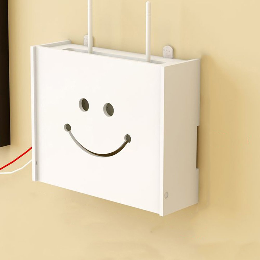yazi WiFi Router Cable Power Plug Wire Storage Boxes Wall Mount Floating Shelf Storage Rack Smiling Face