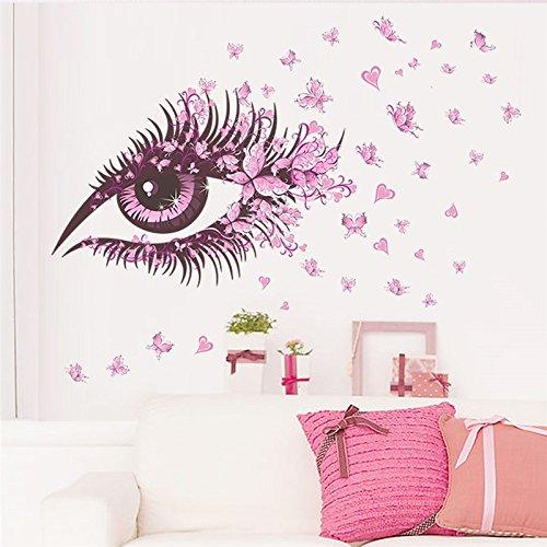 Ayutthaya shop Flower Fairy charm beautiful Women Eye butterfly LOVE heart home decal wall sticker girls bedroom dress room diy sofa wall art (Hello Kitty Wedding Dress)
