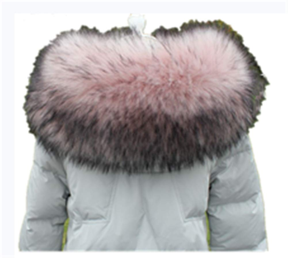 Faux Fur Collar Scarf Hood Collar Shawl Stole Neck Warmer For Winter Coat Jacket Parka (75cm/29.5'', Skin Pink)