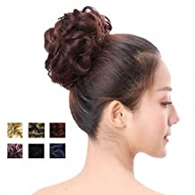 PrettyWit Hairpieces Short Curly Hair Extension Messy Hair Bun Updo Extensions Donut Hair Chignons Hair Piece Wig Scrunchy Bridal Drawstring Hair Chignons(Black 2)