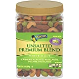 PLANTERS Unsalted Premium Nuts, 34.5 oz. Resealable Container | Contains Roasted California Pistachios, Cashews, Almonds, Hazelnuts & Pecans | No Artificial Flavors or Colors | Kosher
