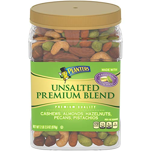 Planters Unsalted Premium Blend Roasted Mixed Whole Nuts, 34.5 oz Jar