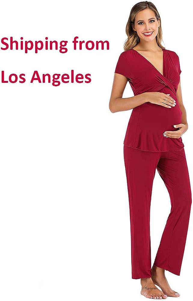 Womens Maternity and Nursing Pajamas Soft Short Sleeve Loungewear Set Breastfeeding Sleepwear