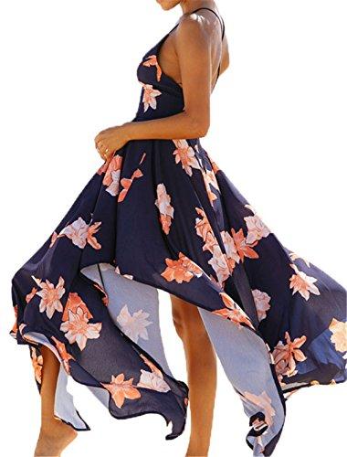Sexy Backless Wrap Neck Asymmetrical Sleeveless Women Dress Black V Strap Floral Bohemia Split Beach Allonly Maxi 1qAC5FwxC
