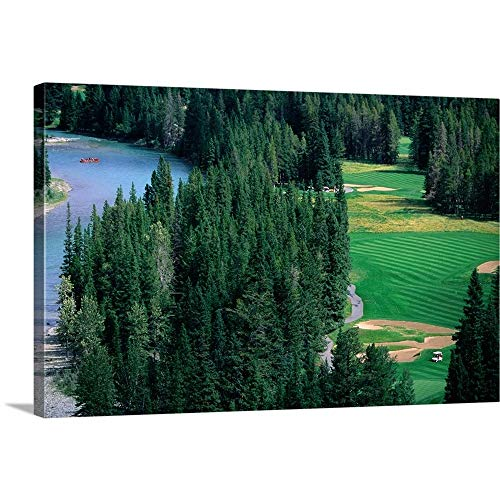 GREATBIGCANVAS Gallery-Wrapped Canvas Entitled Golf Course and White Water Rafting Course from Banff Springs Hotel, Canada by -