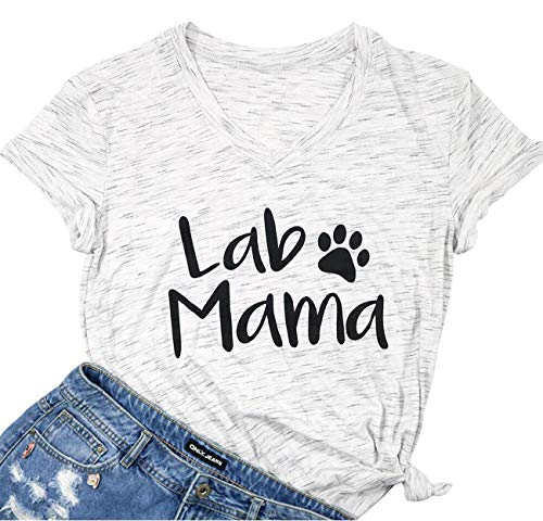 Labrador Mama Shirt Funny Dog Mom T Shirt Women V-Neck Letter Print Tee Animal Lover Casual Short Sleeve Tops Size S (Light Grey)