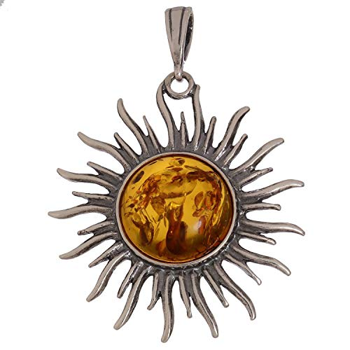 HolidayGiftShops Sterling Silver and Baltic Amber Sun Pendant (Large) ()