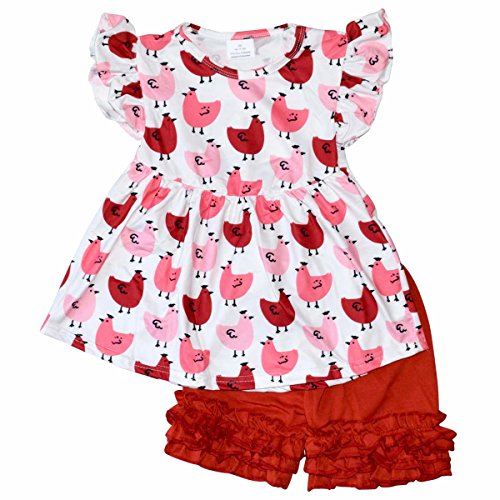 Unique Baby Girls Summer Chick Ruffled Shorts Outfit (3T/S, Red) (Show Girl Outfits)