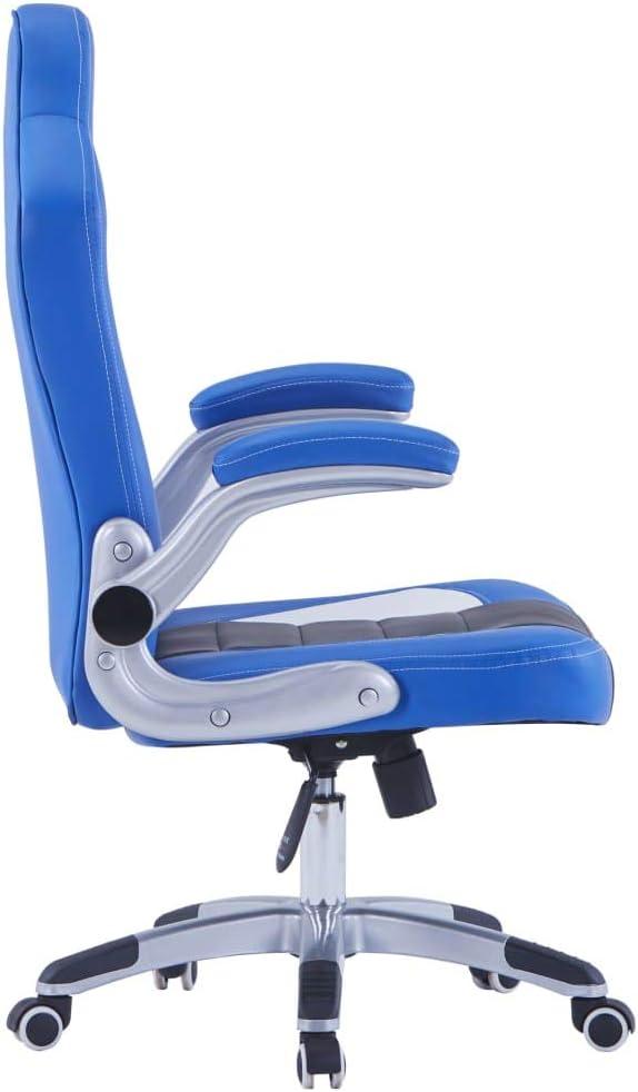 vidaXL Chaise de Jeu Fauteuil de Bureau Siège de Bureau Chaise de Bureau Fauteuil d\'Ordinateur Siège d\'Ordinateur avec 5 roulettes Noir Similicuir Blau, Schwarz Und Weiß