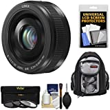 Panasonic Lumix G Vario 20mm f/1.7 II ASPH Lens (Black) with 3 Filters + Backpack + Kit for G6, G7, GF7, GH3, GH4, GM1, GM5, GX7, GX8 Cameras