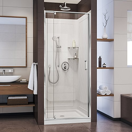DreamLine Flex 36 in. D x 36 in. W x 76 3/4 in. H Pivot Shower Door in Chrome with Center Drain White Base and Backwall Kit, DL-6218C-01CL