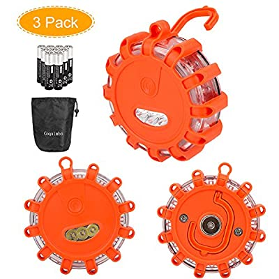 3 Pack Coquimbo LED Road Flares Roadside Safety Light Flashing Warning Light Roadside Flare Emergency Disc Beacon for Car Truck Boat with Storage Bag