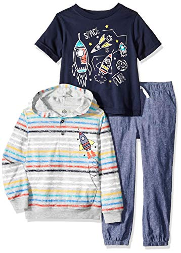 Kids Headquarters Boys' Toddler 3 Pieces Hooded Pants Set, Gray/Blue, 4T