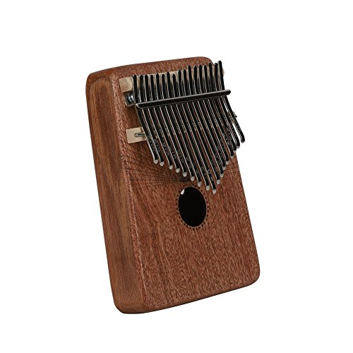 Kalimba Mbira Sanza 17 Keys Thumb Piano Portable Pocket Size Beginners Friendly Solid Finger Piano Mahogany Body Ore Metal Tines with Cruved Statue of Liberty by WANDIC