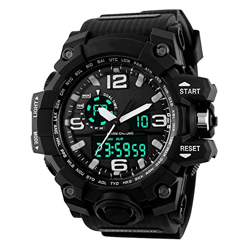 Dial Analog Mens Digital Black (Ireloj Men's Large Dual Dial Analog Digital Quartz Electronic Sport Watch 164FT 50M Water Resistant,Black)