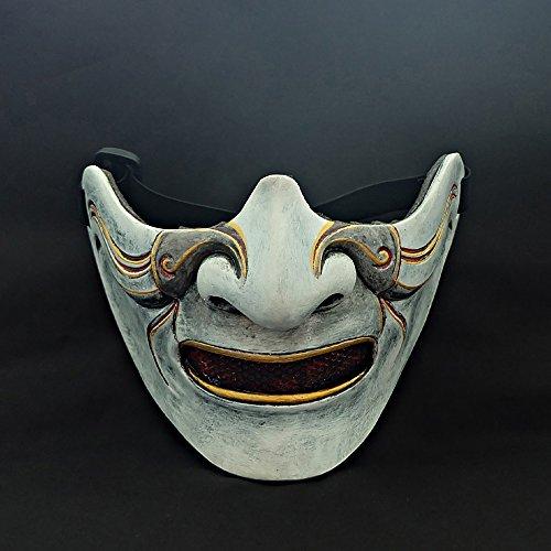 Custom Halloween Costume Cosplay BB Gun Oni Hanya Kabuki Samurai Airsoft Mask white MA227 -