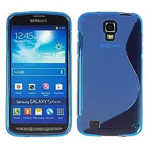 Carcasa de silicona para Samsung Galaxy S4 Active - S-de color azul - diseño de PhoneNatic + Protector de pantalla