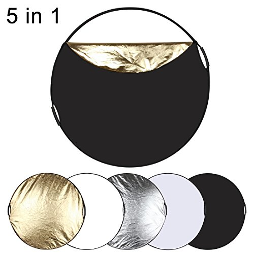 PULUZ 5 in 1 Portable Multi-disc Collapsible Photo Studio Reflector Board (Silver/Translucent/Gold/White/Black) Size: 110cm 43.3in by PULUZ