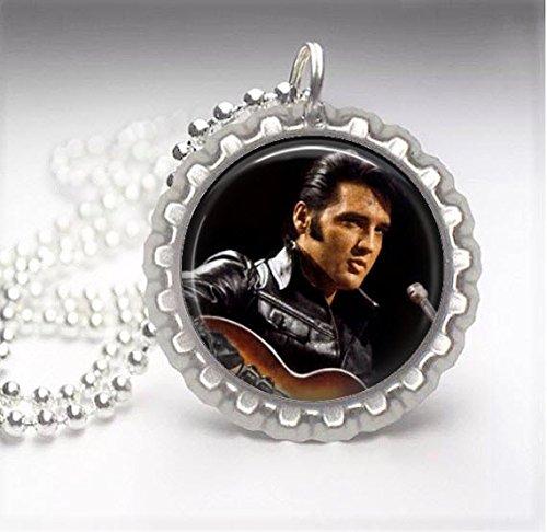 1 Elvis Presley Silver Bottle Cap Pendant Necklace #139 - Elvis Presley Dome