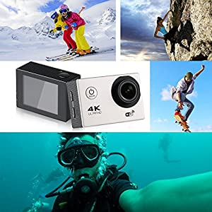 Action Camera 4K Ultra HD 1080P WiFi Waterproof Mini Sport Cam with 12MP Remote Control 30M 170 Degree Wide Angle 2.0 Inch LCD 100 Feet Underwater with Accessories Kits and Rechargeable Battery