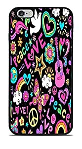 Psychedlic Peace & Love Design Black Silicone Case for iPhone 6+ (5.5) by supermalls