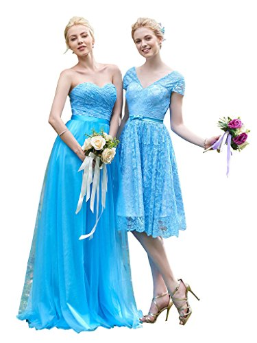 CLOCOLOR Women's Sweetheart A Line Bridesmaid Dress Lace Long Prom Gown Size 26 Sky Blue