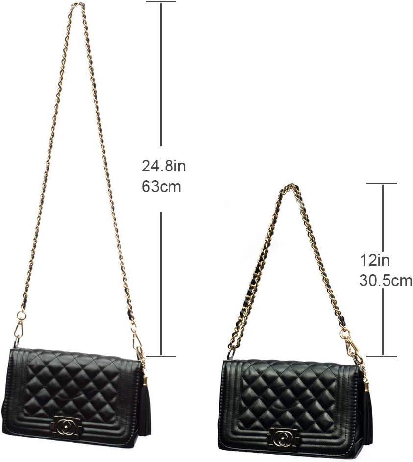 HEALLILY Metal Purse Handles Chain DIY Handbag Handles Replacement Totebag Straps for DIY Handbag Purse Making Accessories Black