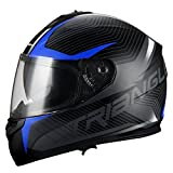 Triangle Full Face Dual Visor Matte Black Street Bike Motorcycle Helmet (Large, Matte Blue)