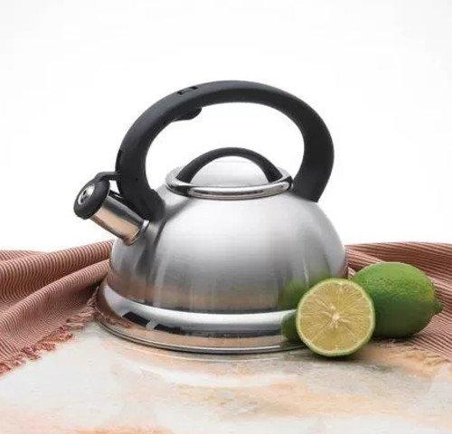 Stainless Encapsulated Copper Bottom - Stainless Steel Mirror Finish Whistling Tea Kettle 2.8 Liter Capacity