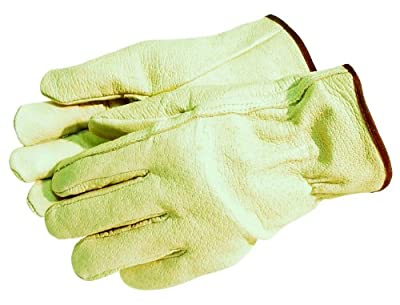MCR Safety 3400XL Grain Pigskin Driver Regular Grade Men's Gloves with Straight Thumb, Yellow, Men's X-Large, 1-Pair (Pack of 12)