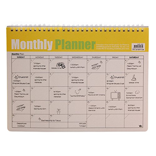 EzSos Monthly Planner, Desk Pad Calendar, Coil Spiral Appointment Book, Desktop Study Schedule, 11.2x8.3 inch, 24 Sheets/48 Pages, White