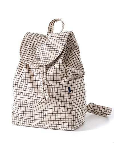 (BAGGU Canvas Backpack, Durable and Stylish Simple Canvas Satchel for Daily Essentials, Natural Grid)