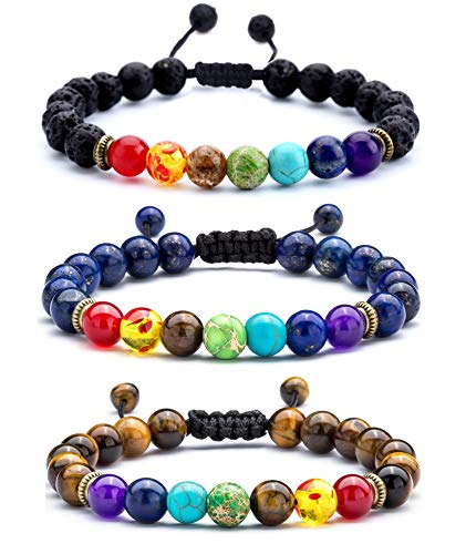 Hamoery Men Women 8mm Lava Rock 7 Chakras Diffuser Bracelet Braided Rope Natural Stone Yoga Beads Bracelet Bangle (3 Pcs Set)