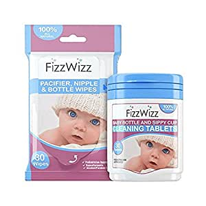 FizzWizz Natural Cleaning Tablets with Pacifier Wipes for Baby Bottles / Sippy Cups - 30 Count
