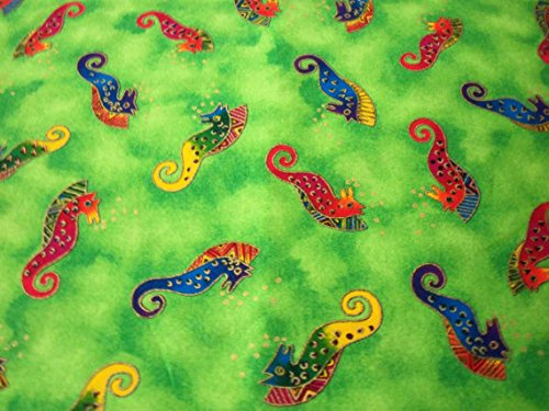 laurel-burch-seahorses-fabric-bright-green-background-new-by-the-fat-quarter