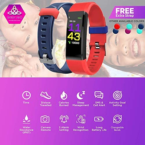 Kids Fitness Tracker for Kids Activity Tracker - Smart Watch for Android Phones iOS Digital Watch Smart Step Calorie Counter Sleep Monitor Exercise Pedometer Alarm Clock (2Bands) 3