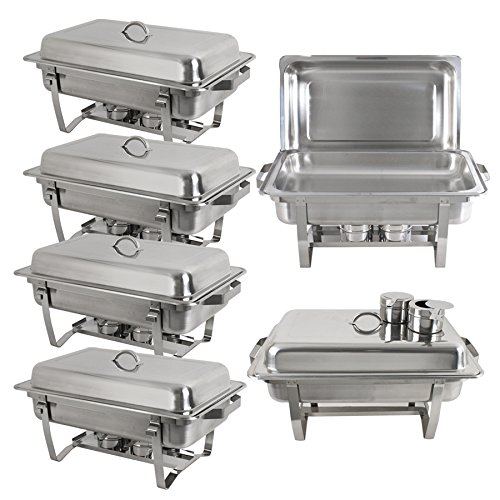 ze Stainless Steel Chafing Dish with Water Pan and Chafing Fuel Holder,Complete Chafer Set (Pack of 6) ()