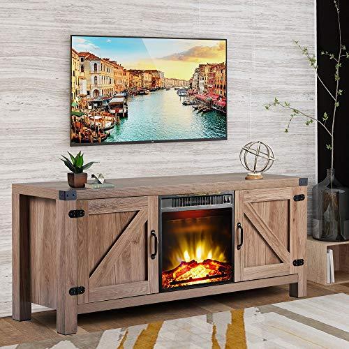 BEIZ & PENZ Barn Door TV Stand with Fireplace for TV