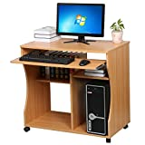 Popamazing Wood Compact Computer Workstation Trolley Desk with Keyboard Tray on Wheels, Beech