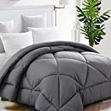 TEKAMON Queen Comforter Soft Quilted Down Alternative Duvet Insert with Corner Tabs Warm Winter 2100 Series,Luxury Fluffy Reversible Hotel Collection,Hypoallergenic for All Season,Grey,88 x 88 inches