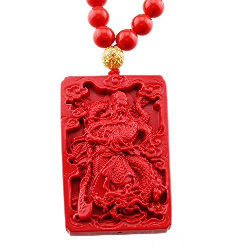 FOY-MALL Fashion Natural Cinnabar Guan Yu Pendant Necklace XL1351M]()