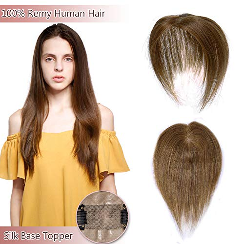 100% Real Human Hair Silk Base Top Hairpiece Clip in Hair Topper for Women Crown in Hand-made Toppee Middle Part with Thinning Hair Loss Hair #6 Light Brown 10