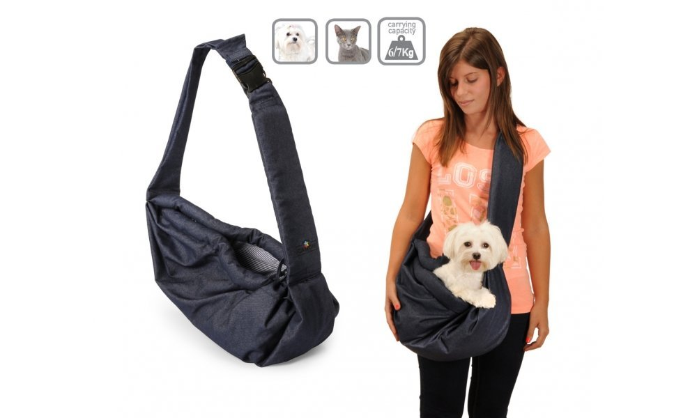 Camon Italy Pet Sling Pooch Pouch Denim Shoulder Bag Pet Tote Dog Cat Small Animal Travel