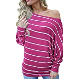 OCEAN-STORE Womens Casual Stripe O-Neck Tops Long Sleeve Pullover Sweaters for Women Sweatshirt T-Shirt Blouse Shirts