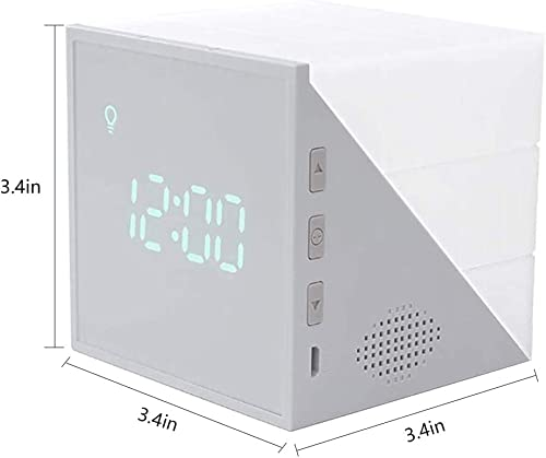 Cube Alarm Clock With Voice Control Night Light, Snooze Calender Temperature Display, USB Rechargeable LED Bedside Lamp, Timer Countdown Sleep Training Clock for Kids, Bedroom, Home, Dormitory, Travel