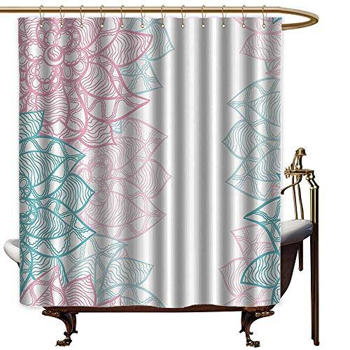 Godves Polyester Fabric Shower Curtain,Floral Large Flower Petal in Pastel Tone Elegance Spring Beauty Embellished Design,Fashionable Pattern,W48x84L,Sky Blue Light Pink