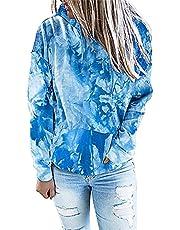 Womens Tie Dye Casual Hoodie Sweater Loose Drawstring Pockets Sweatshirt Spring Casual Tunic Long Sleeve Pullover