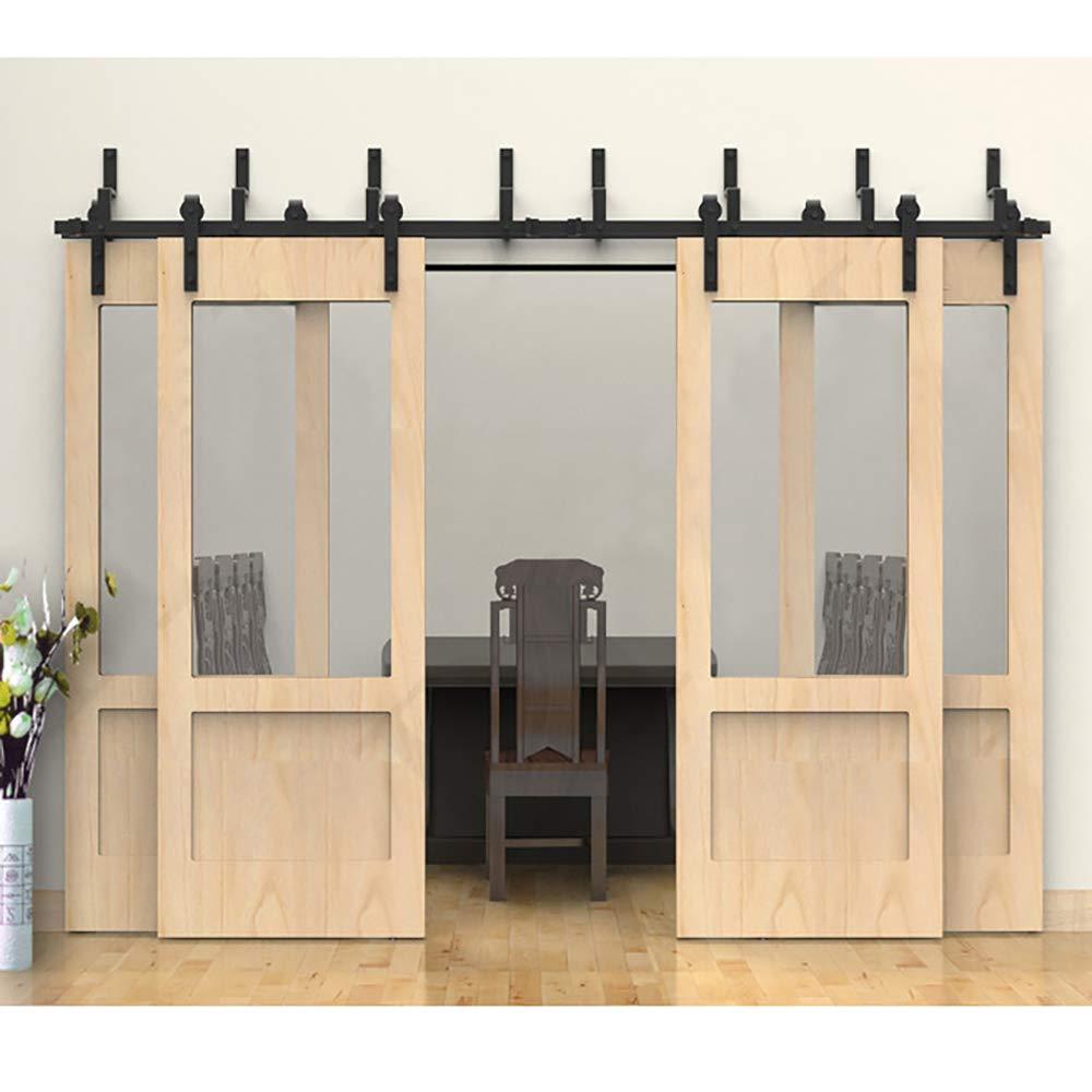 J Shape Roller WINSOON 16FT Double Track 4 Door Bypass Hardware Kit for Sliding Barn Doors 8FT-16FT 16FT // Four Doors Set