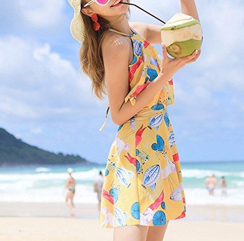 HOMEE Swimsuit Backless Giallo Summer Costume Skirt Beach bagno da coperto XXL Chest Small Gathers Dress Swimsuit rrdTqgR